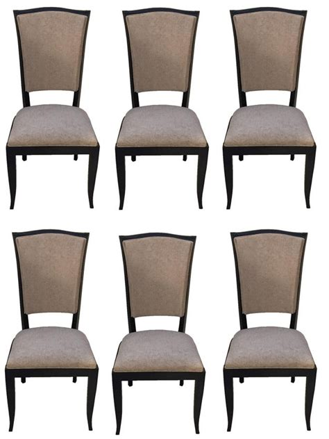 set of 6 black lacquer dining chairs at 1stdibs french art deco black lacquer dining chairs set of six