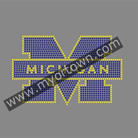 Custom Motif Mi custom michigan iron on rhinestone transfer motif