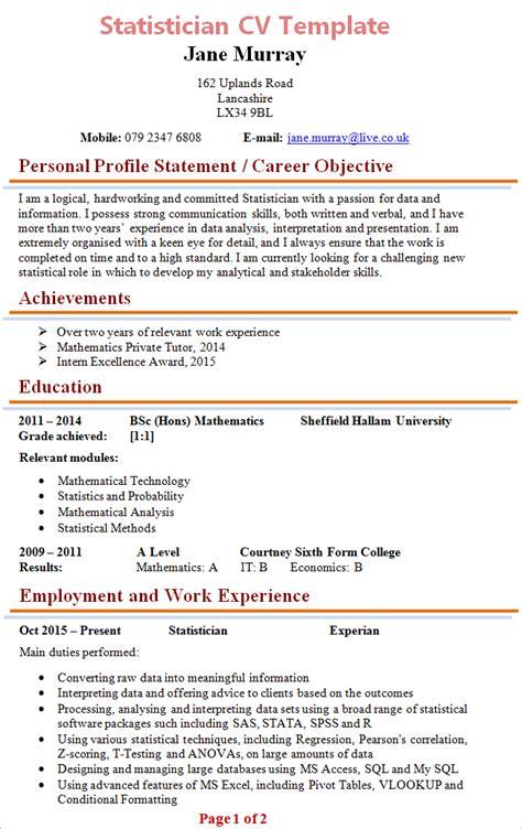 Statistician Resume