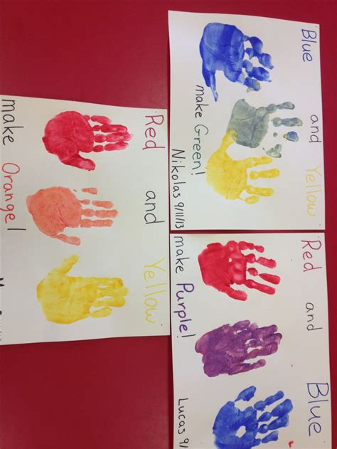 preschool color mixing paint each a different primary color then the child rub their