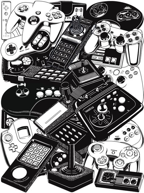 video game art design retrogaming joysticks controllers ym graphix