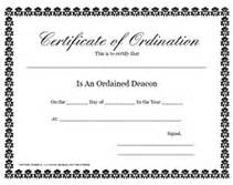 free printable ordained deacon certificate of ordination