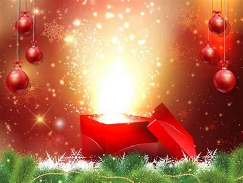 christmas background with gift box and baubles vector