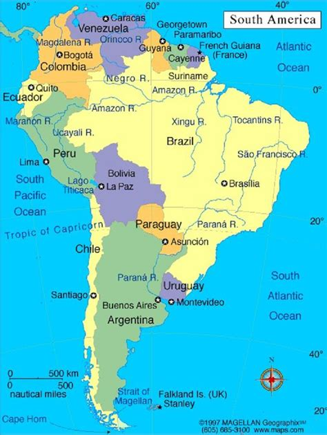 map of south american countries and their capitals