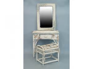 Wicker Vanity Set 49 White Wicker Vanity Set Table Bench And Mirror Lot 49