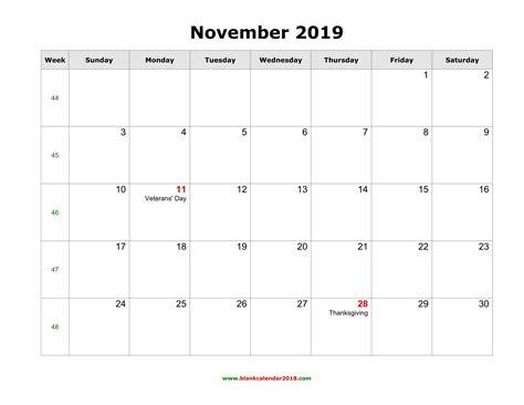 blank holidays calendar november  landscape