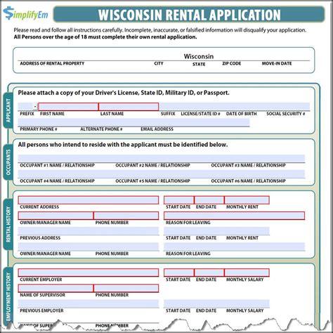 Renters Credit Form Wisconsin Wisconsin Rental Application