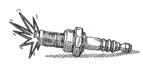 spark plug drawing stock vector freeimages com