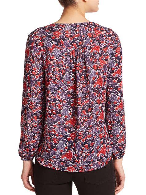 Jeslyn Floral Blouse In Blue joie odelette silk floral print blouse in blue lyst