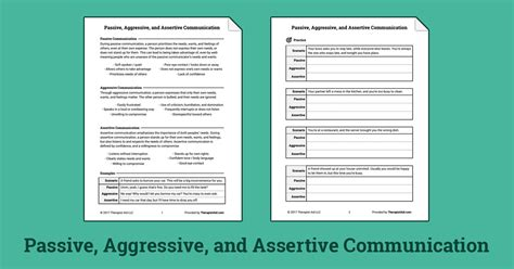 Assertive Communication Worksheet by Passive Aggressive And Assertive Communication