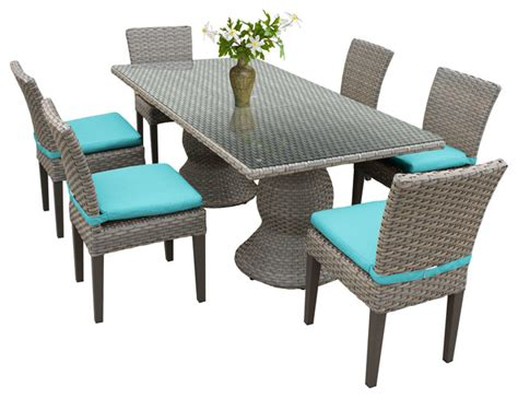 contemporary patio dining set harmony outdoor dining table with armless chairs 7 piece