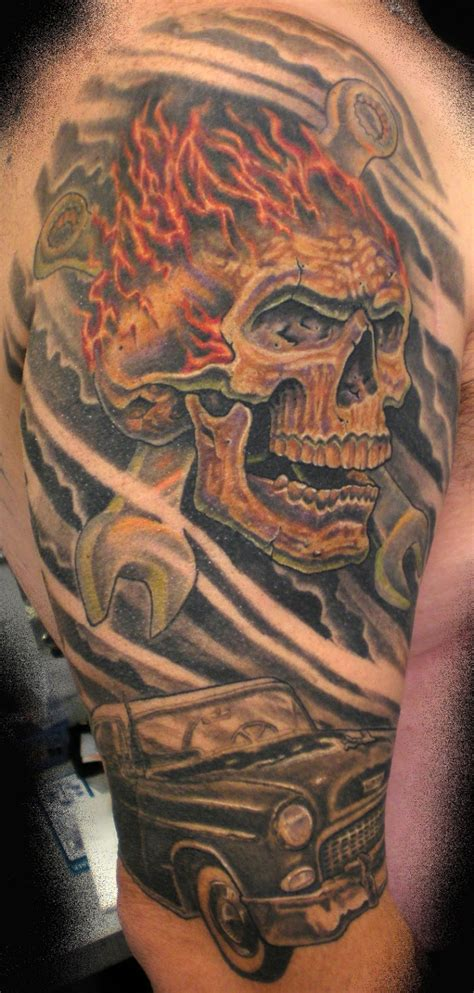 gear head tattoos designs skull tattoos