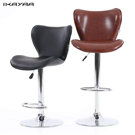 2pcs pu leather adjustable counter swivel bar stool pub ikayaa us stock pu leather swivel bar stool chair height