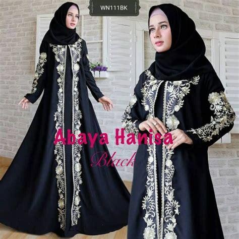 Gamis Pesta Hitam Mewah abaya hanisa blackjet bordir mewah baju gamis pesta hitam