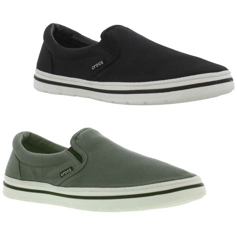 crocs norlin slip on mens black grey canvas shoes trainers