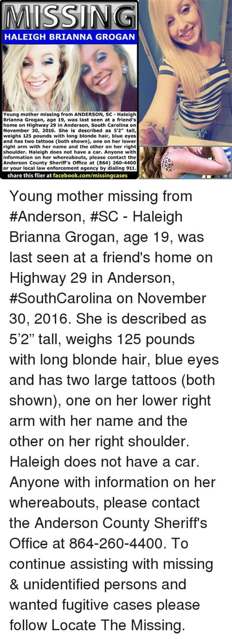 south carolina tattoo laws missing haleigh grogan missing from