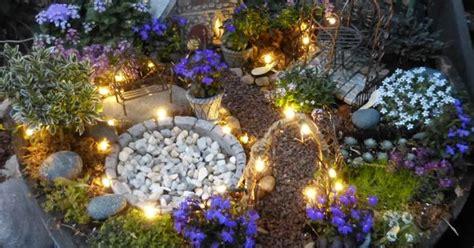 fairy garden  solar twinkle lights plants include