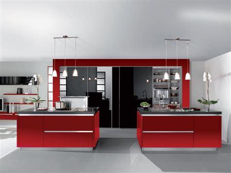 Impressionnant Photo Cuisine Grise Et Noire #8: Cuisine-rouge-noir-brillant-avec-ilot.jpg