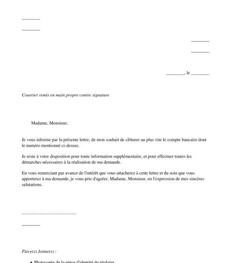 Modele Lettre Cloture Compte Bancaire
