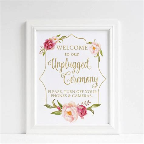 Wedding Ceremony No Phones by Unplugged Wedding Sign Unplugged Ceremony Sign No Cell