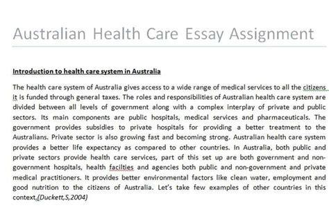Health Care Essay by Australian Health Care Essay Assignment Assignment Help Australia