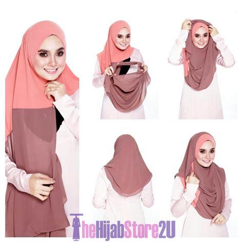 tutorial pashmina crepe instant shawl 2 muka thehijabstore2u com tudung online
