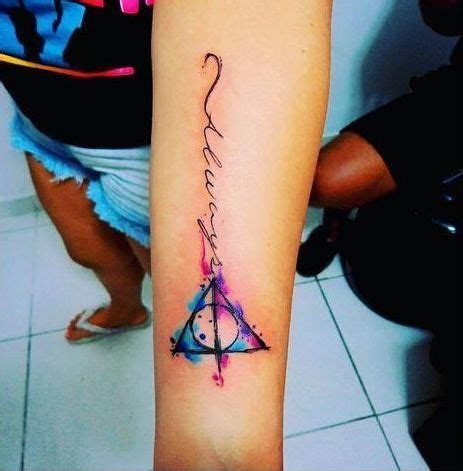 colorful deathly hallows tattoo idea