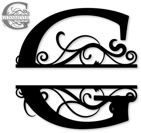 printable monogram art quot g quot split monogram flockfolie letters pinterest