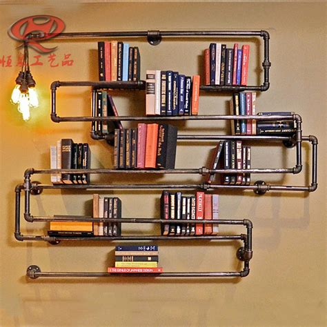 industrial retro iron pipes bookcase shelves creative