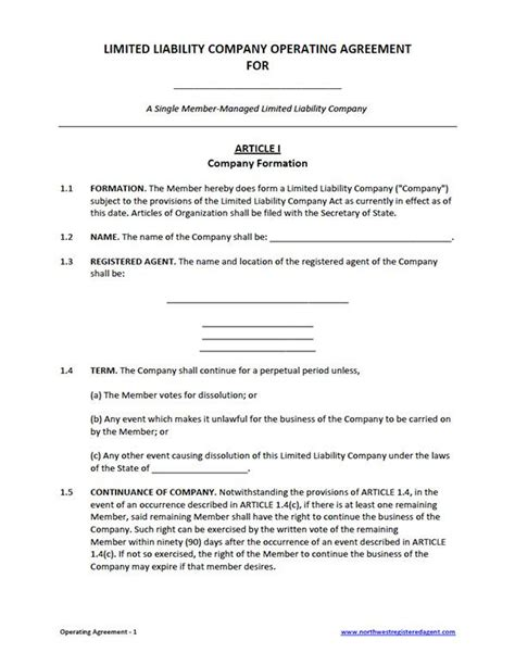 llc purchase agreement template free single member llc operating agreement template