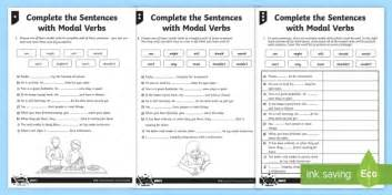 complete the sentences with modal verbs differentiated