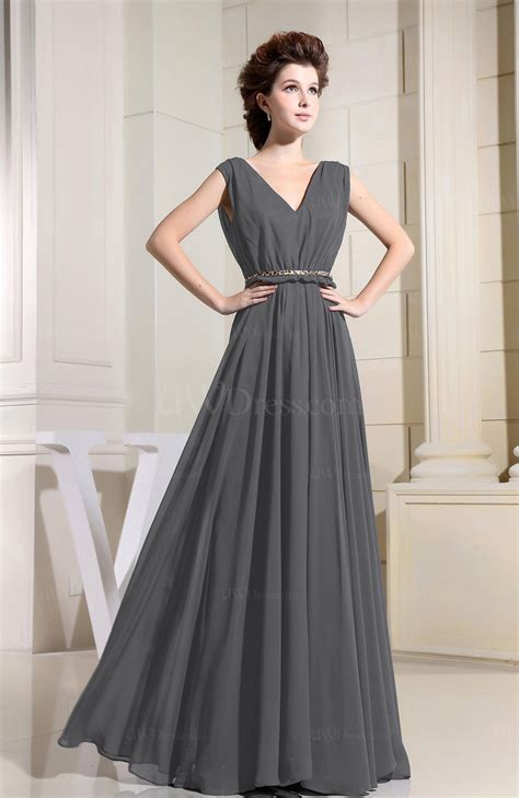 Xy61763 V Neck Chiffon Dress Gray grey casual v neck sleeveless chiffon pleated bridesmaid
