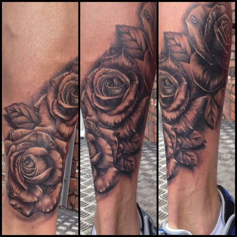 rose tattoos on calf cover up calf black and grey lovely