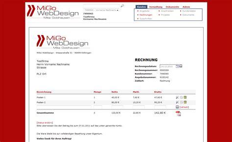 Muster Rechnung Webdesign Migo Webdesign Produkte