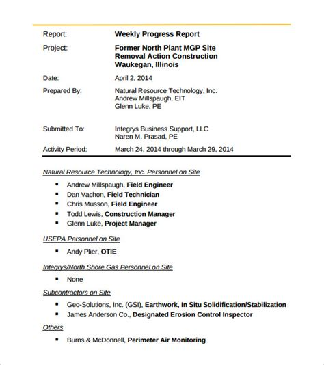 33 Weekly Activity Report Templates Pdf Doc Free Premium Templates Engineering Report Template