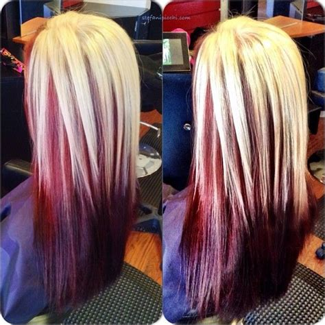 hairstyles red and blonde blonde streaks with red lowlights my new hair