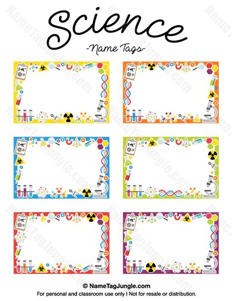 Free Printable Science Name Tags The Template Can Also Be Used For Creating Items Like Labels Peterdahmen De Templates Pdf