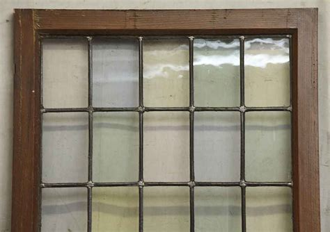 wood frame pastel stained leaded glass window olde