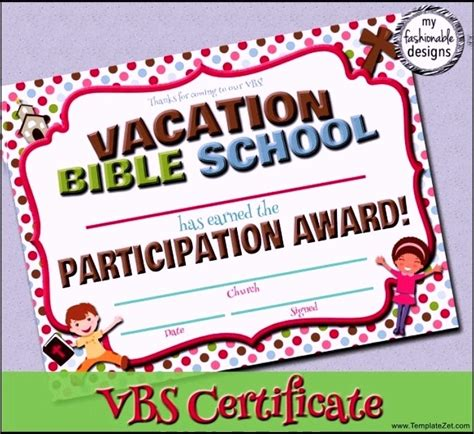 vacation certificate template bible school certificate template templatezet