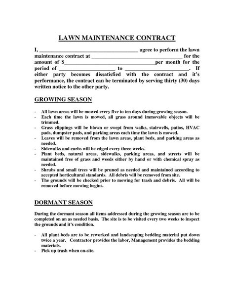 lawn care contract template 25 best ideas about contract agreement on
