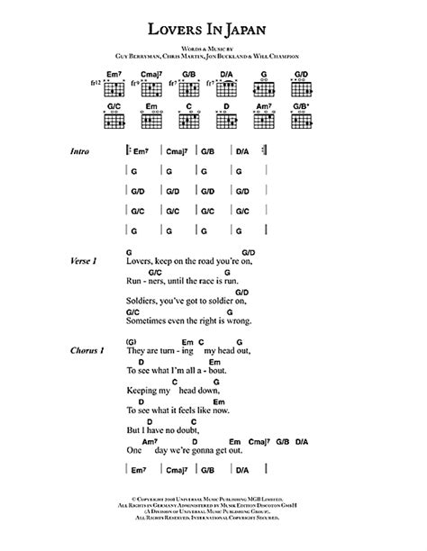 strawberry swing chords lovers in japan sheet music by coldplay lyrics chords