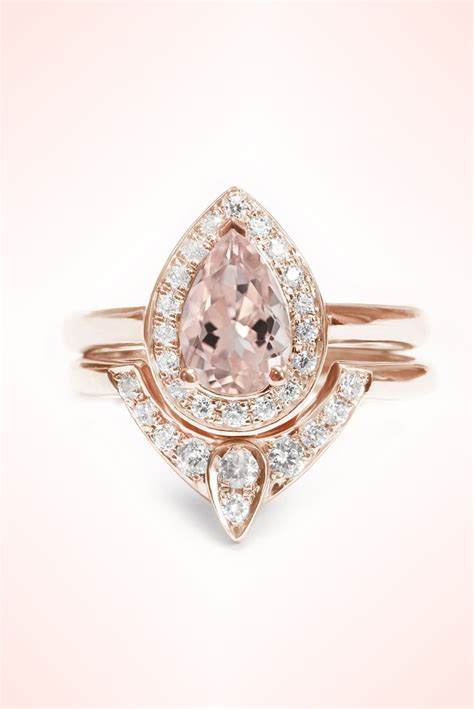 Pear Shaped Morganite Engagement Ring and diamond wedding