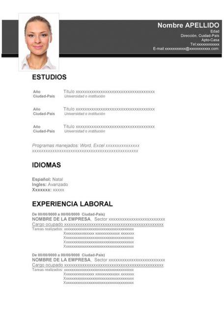 Plantillas De Curriculum Vitae Atractivo plantillas de curriculum para descargar gratis en word