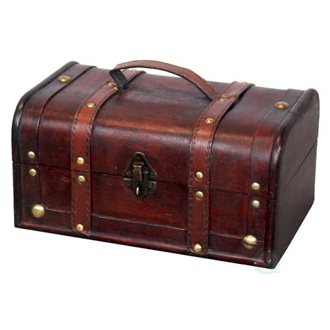 vintiquewise decorative wood treasure box wooden trunk