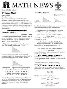 Parent Letter Eureka Math 1000 Images About Grade 8 Eureka Math On Eureka Math Parent Newsletter And Mathematics