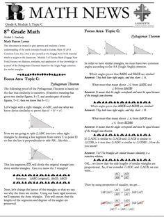 Parent Letter Eureka Math 1000 Images About Grade 8 Eureka Math On Eureka Math Parent Newsletter And Mathematics