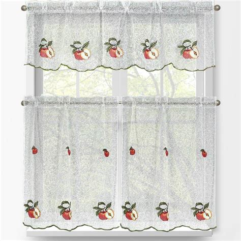 Apple Kitchen Curtains Window Elements Apple Embroidered 3 Kitchen Curtain Tier And Valance Set Ymc001854