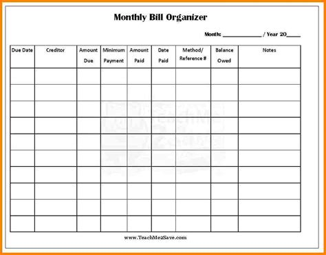 monthly payment calendar template 4 monthly bill payment organizer monthly bills template
