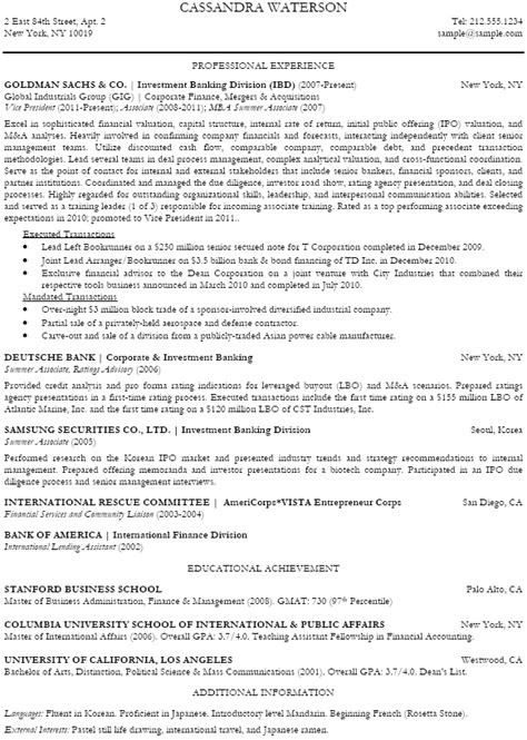 Investment Banking Analyst Resume by Investment Banking Analyst Resume Sle Recentresumes