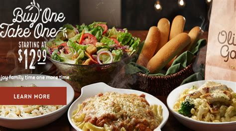Olive Garden Buy One Take One Menu by Olive Garden 4 Entrees 2 Salads Or Soups And 4